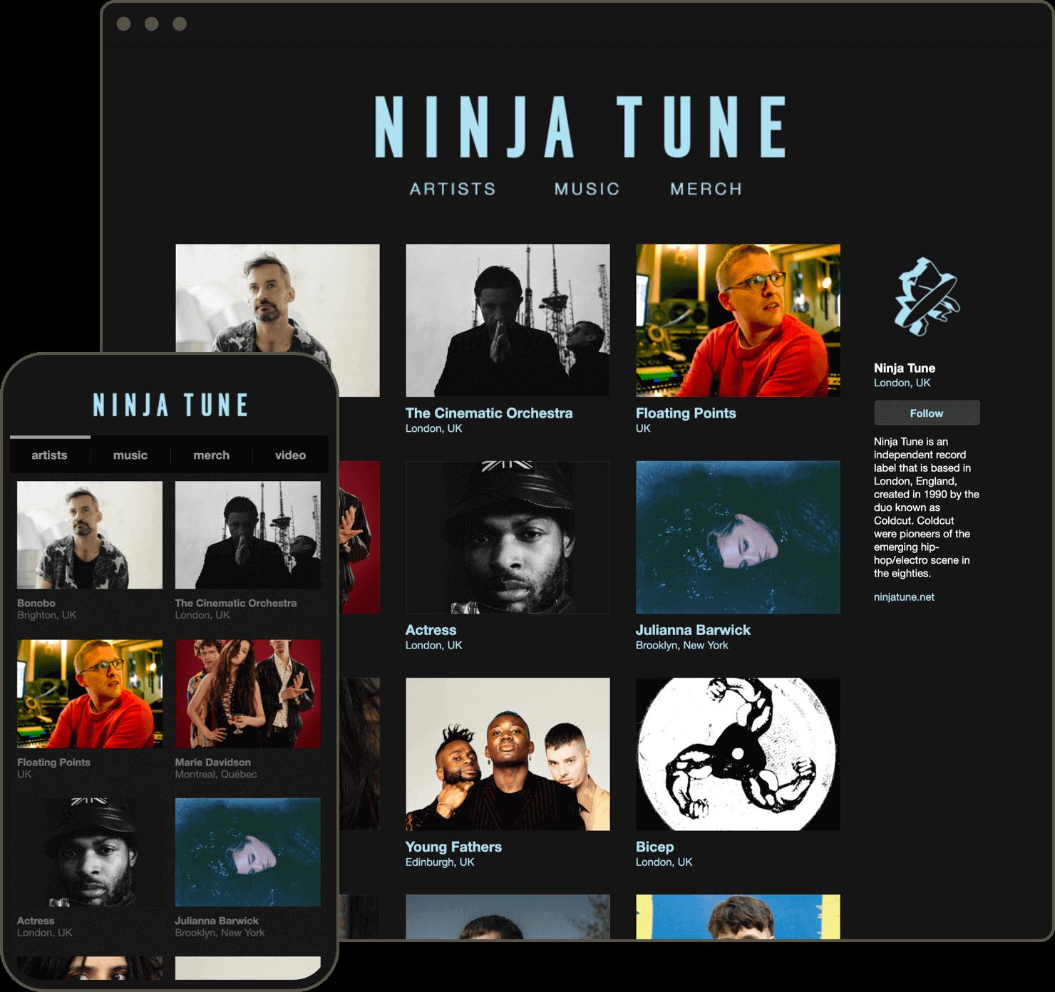 A screenshot of Ninja Tune's Bandcamp page